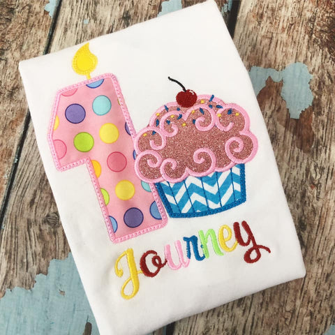 Personalized Cupcake Birthday Design- Pink Dot