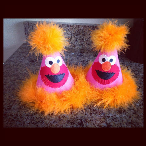 Personalized Elmo Party Hat - Hp & Orange
