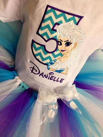 Personalized Frozen Elsa Birthday Design - Teal Chevron