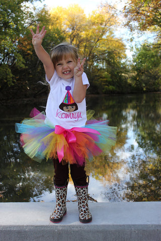 Personalized Dora the Explorer Birthday Tutu Set - Rainbow