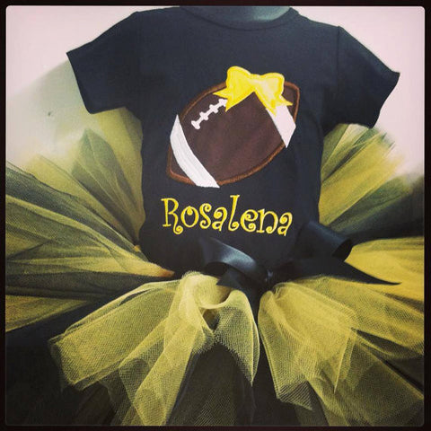 Personalized Football Birthday Tutu Set -  Yellow