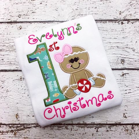 Personalized Gingerbread Girl First Christmas Design