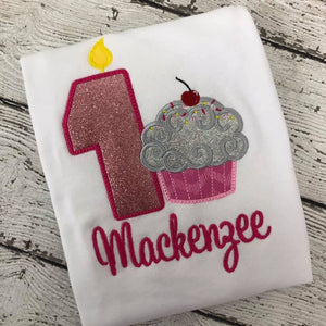 Personalized Cupcake Birthday Design- Fushia Glitter