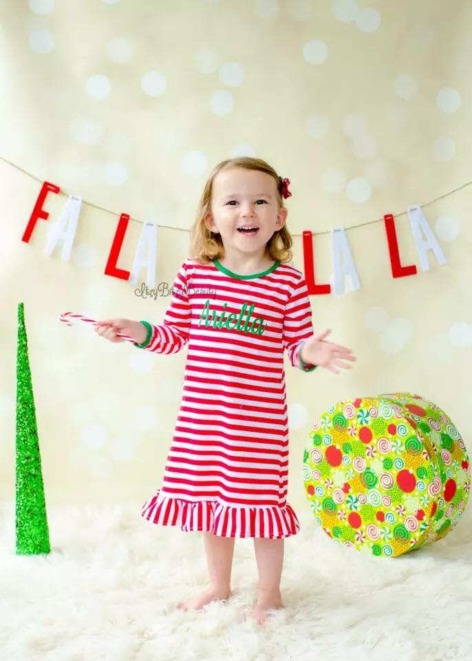 Monogrammed Girls Christmas Ruffle Night Gown-PRE-ORDER
