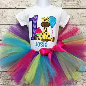 Personalized Giraffe Birthday Tutu Set- Bright Multi Color