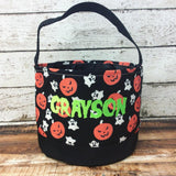 Personalized Pumpkin/Ghosts Trick or Treat Bucket