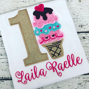 Personalized Ice Cream Cone Birthday Design