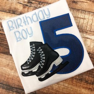 Personalized Ice Skate Birthday Design - Blue