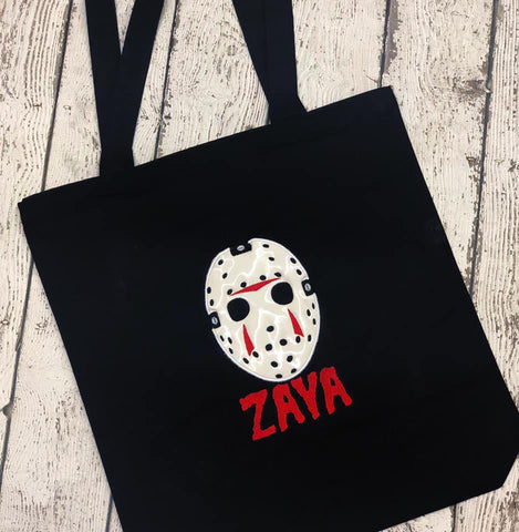 Personalized Jason Mask Trick or Treat Bag