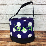 Personalized Polka Dot Trick or Treat Bucket- Purple/White