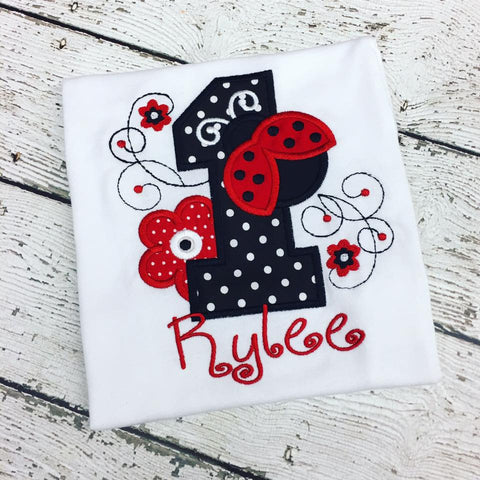 Personalized Ladybug Flowers Birthday Design