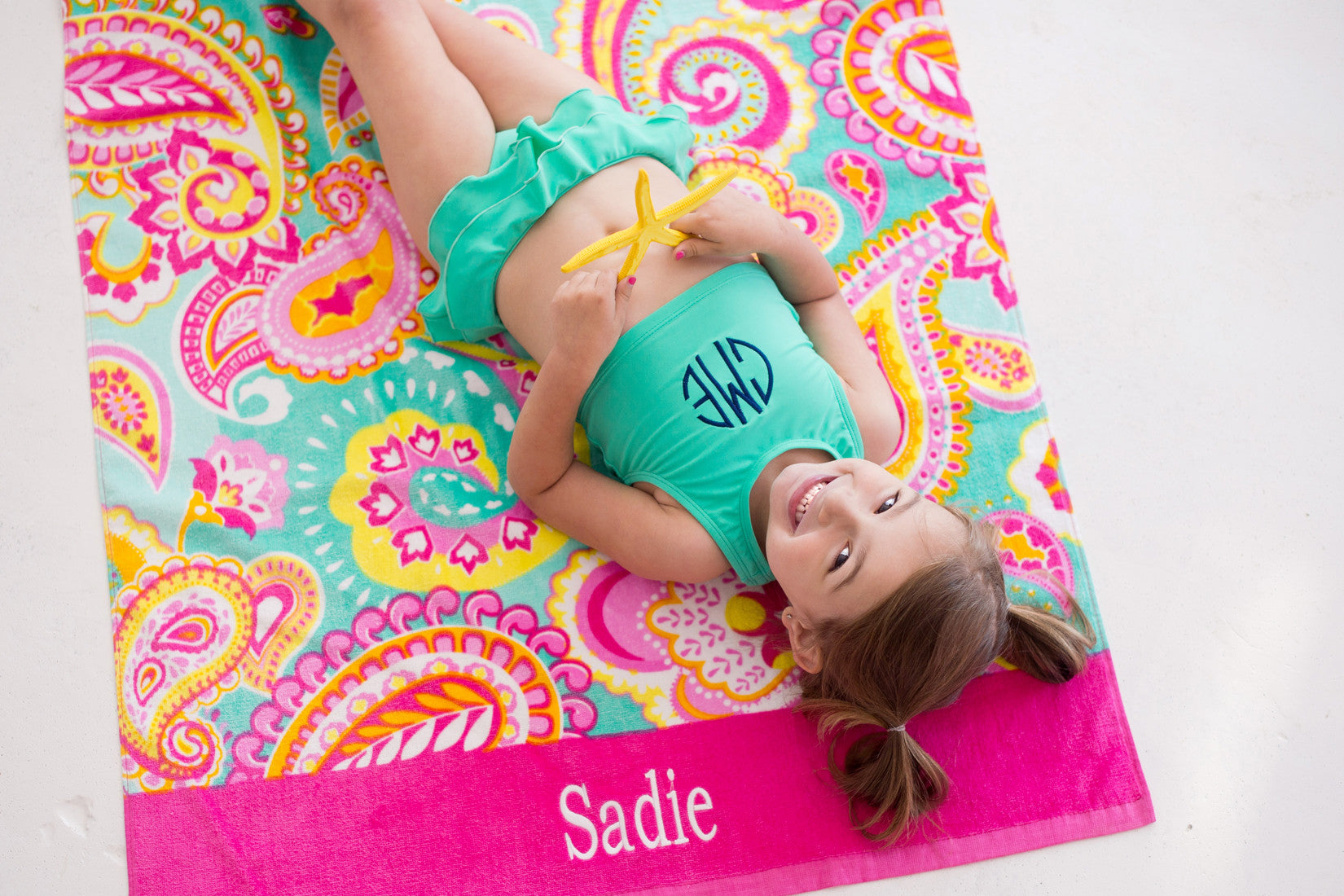 Summer Paisley Beach Towel- Monogrammed