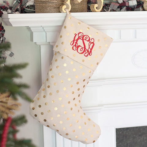Personalized Classic Gold Dot Christmas Stocking