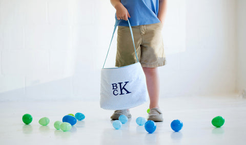 Personalized Easter Bucket- Blue Seersucker