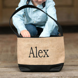 Personalized Black Burlap Bucket