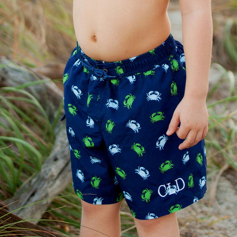 Boys Monogrammed Crabby Swim Trunks