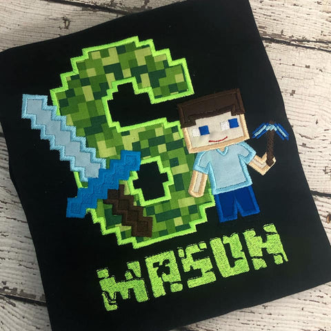 Personalized Mine Craft Birthday Design- Steve