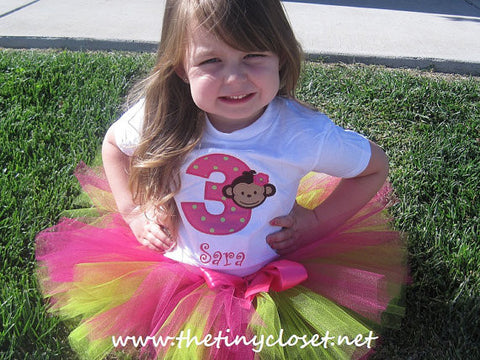 Personalized Mod Monkey Girl Birthday Tutu Set