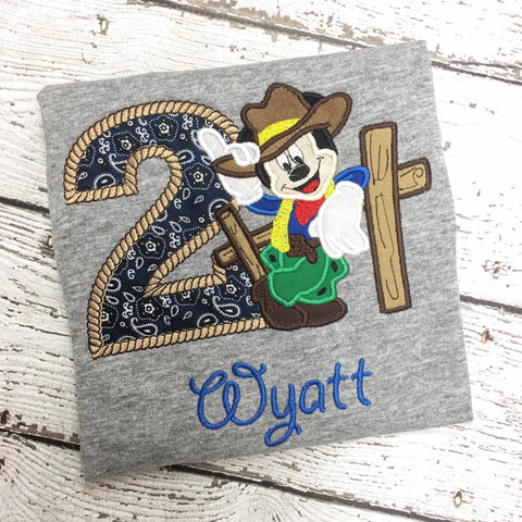 Personalized Western Mickey Mouse Full Face Birthday Design