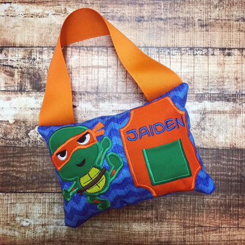 Personalized Tooth Fairy Pillow - TMNT Orange Turtle