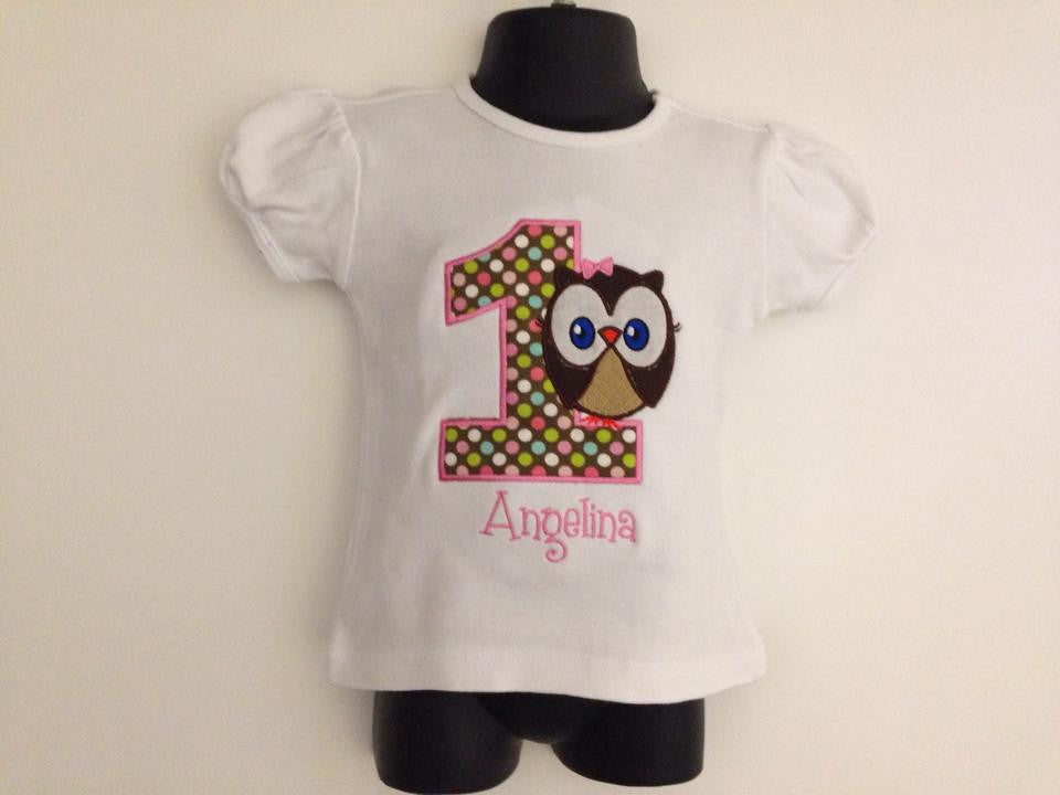 Personalized Owl Birthday Design- Multi Dot