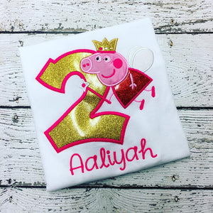 Personalized Peppa Pig Fairy Birthday Design - Gold