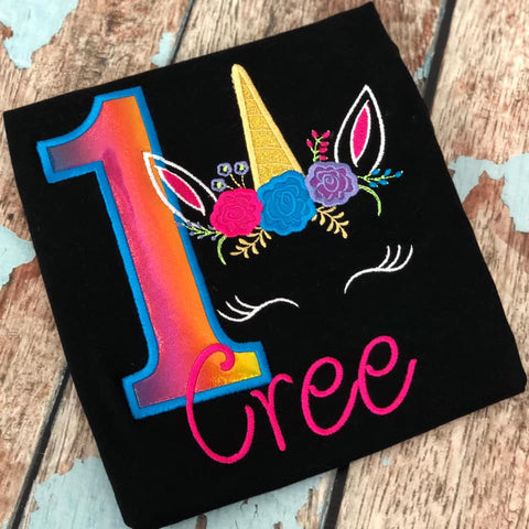 Personalized Rainbow Unicorn Face Birthday Design - Black