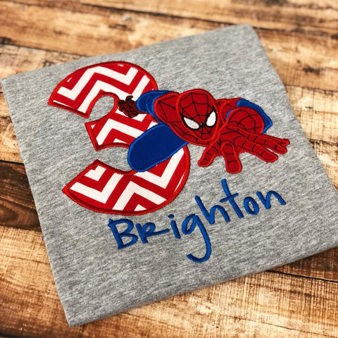 Personalized Spiderman Birthday Design - Red Chevron
