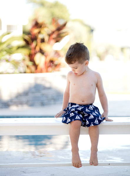 Boys Monogrammed Sail Away Swim Trunks