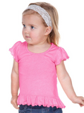 INFANT/GIRL - Girls Sheer Jersey High Low Flutter Top - UPGRADE LISTING.