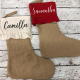 Personalized Ruffled Farmhouse Stocking- RED
