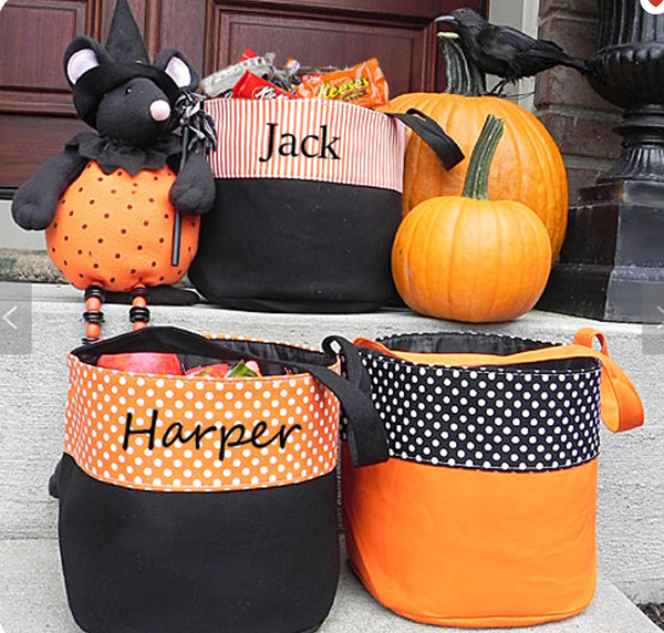 Personalized Trick or Treat Bucket- vertical stripes