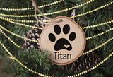 Personalized Wood Slice Ornament- Natural Paw Print