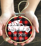 Vintage Truck Embroidery Hoop Ornament