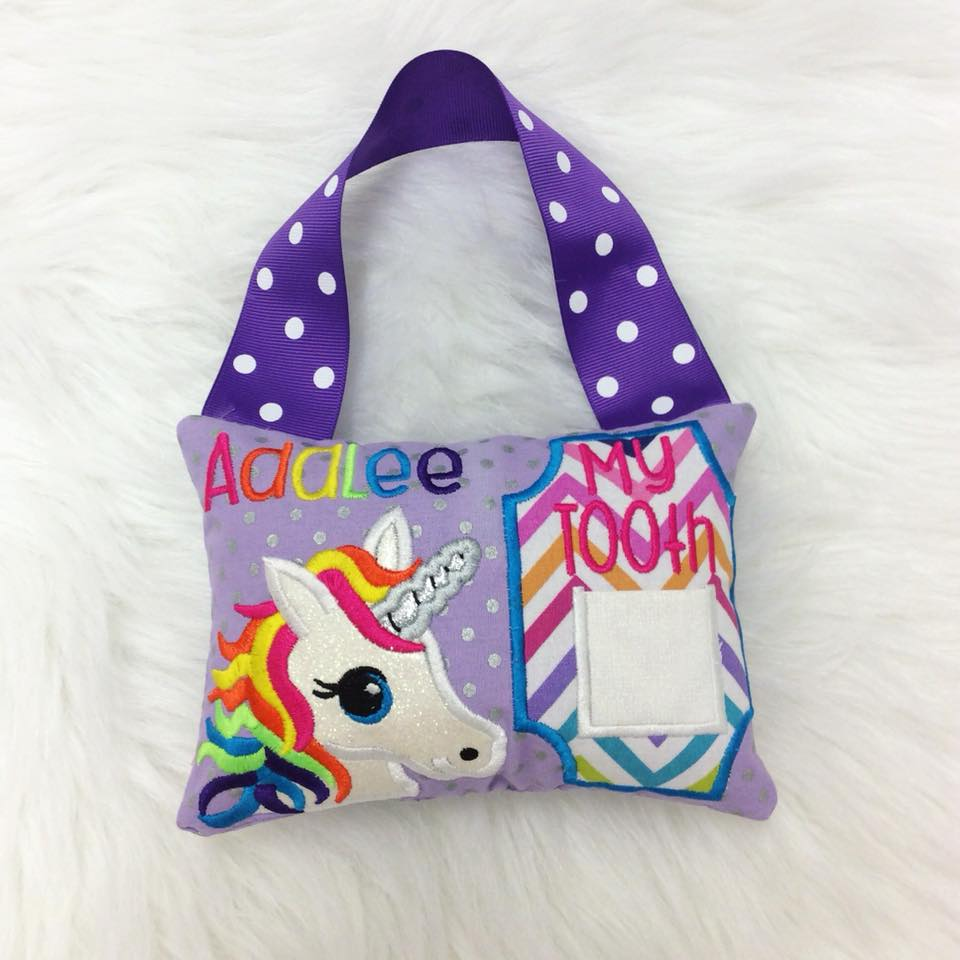 Personalized Tooth Fairy Pillow - Rainbow Unicorn