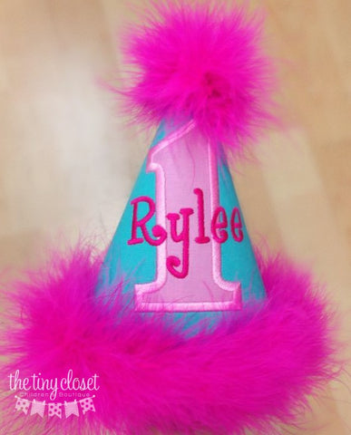 Personalized Birthday Party Hat- Aqua & Pinks
