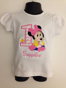 Personalized Baby Minnie Birthday Design - Pink Stripes