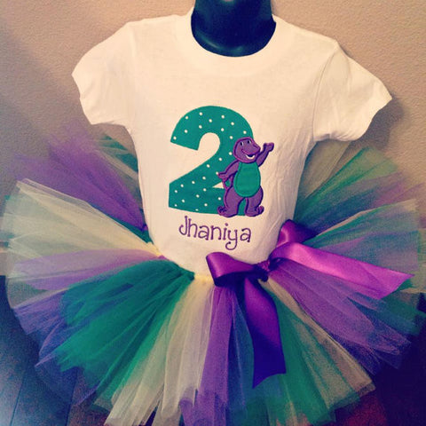 Personalized Barney Birthday Tutu Set