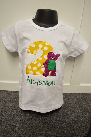 Personalized Barney Birthday Design- Yellow Dot