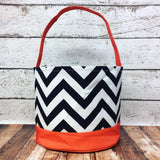 Personalized Chevron Trick or Treat Bucket-  Black