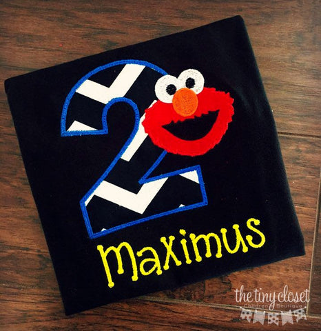 Personalized Elmo Birthday Design- Black Chevron