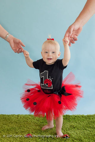 Personalized Ladybug Birthday Tutu Set - Black