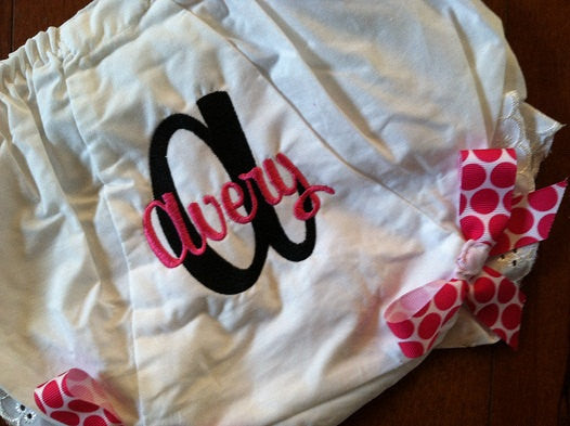 Personalized Initial Monogram Bloomer - Black & HP