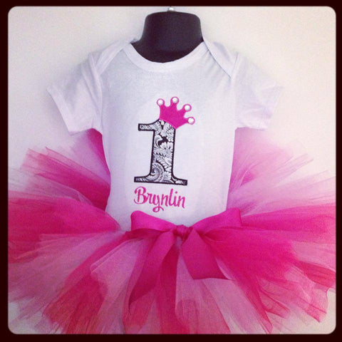 Personalized Princess Birthday Tutu Set - Black Damask & HP