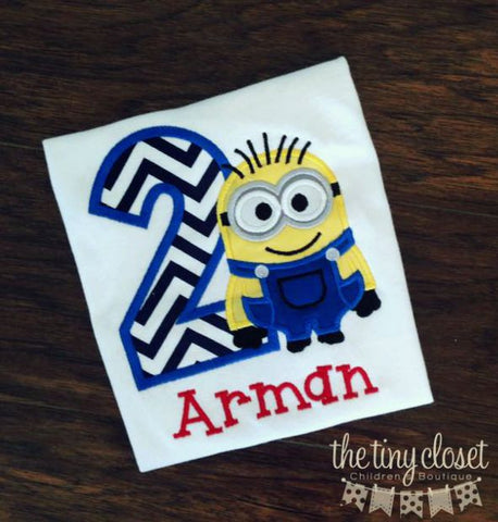 Personalized Minion Dave Birthday Design- Navy Chevron