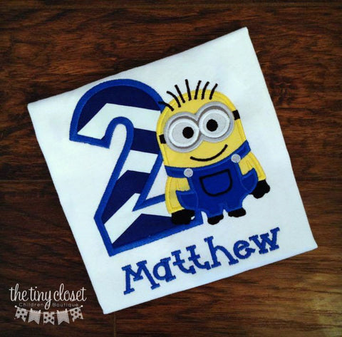 Personalized Minion Birthday Design - Large Navy Chevron