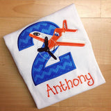 Personalized Dusty the Plane Birthday Design- Blue Chevron