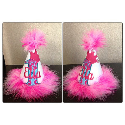 Personalized Princess Birthday Party Hat- Turq & HP Damask