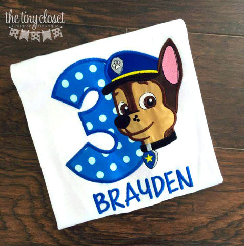 Personalized Paw Patrol Chase Birthday Design- Blue Polka Dot