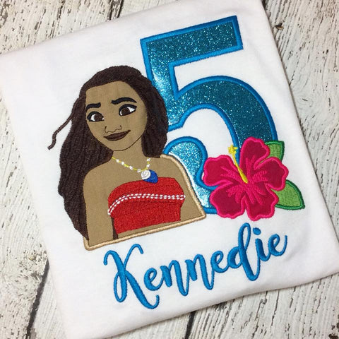Personalized Blue Glitter Moana Birthday Design